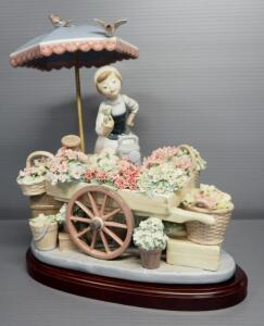"Lladro ""Flowers Of The Season"" Porcelain Figurine No. 1454, Sculptor Jose Puche, 11"" High, On Wood Base"
