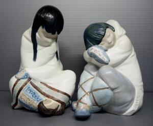 "Lladro ""Eskimo Girl"" Porcelain Figurine No. 2008 11.5"" High And ""Eskimo Boy"" Figurine No. 2007, 10"" High, Both By Sculptor Juan Huerta"