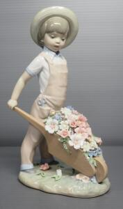 "Lladro ""Wheelbarrow With Flowers"" Porcelain Figurine No. 1283, Sculptor Francisco Catala, 9.5"" High"