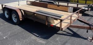"2001 Ja-Mar Tandem Wheel 14' x 76.5"" Flatbed Trailer With Two Sets of Loading Ramps, VIN # 4AJUT16221J032098"