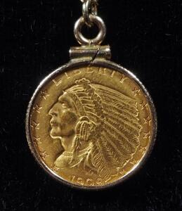 "$2.5 Indian Head Quarter Eagle Coin With 14K Gold Necklace, 17"" Long, 10K Gold Bordering Coin"