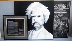 Samuel L Clemens/ Mark Twain Wall Trio, Includes Painted Portrait On Canvas By Jackie Grawe, Canvas Print Map Of Hannibal, MO And Biography Plaque