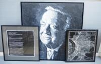 Walter Leland Cronkite Jr. Wall Trio, Includes Painted Portrait On Canvas By Jackie Grawe, Canvas Print Map Of St. Joseph, MO And Biography Plaque