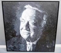 Walter Leland Cronkite Jr. Wall Trio, Includes Painted Portrait On Canvas By Jackie Grawe, Canvas Print Map Of St. Joseph, MO And Biography Plaque - 2