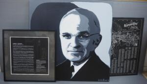 Harry S. Truman Wall Trio, Includes Painted Portrait On Canvas By Jackie Grawe, Canvas Print Map Of Kansas City, MO And Biography Plaque