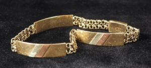 10K Gold Chain And Cuff Bracelet, Approx 10 g Total Weight, Clasp Damaged, Will Not Open
