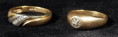 10K Gold Rings, Qty 2, Both With Clear Stones, Sizes 8-1/4 And 9, 8.04 g Total Weight Including Stones