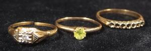 14K Gold Rings, Qty 3, 1 With Clear Stones, 1 With Green Stone, Sizes 5, 6 And 6-1/4, 3.846 g Total Weight Including Stone
