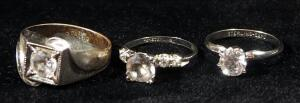 Sterling Silver Rings, Qty 3, All With Clear Stones, Sizes 6-3/4, 7-1/4, And 10-1/4, Approx 14 g Total Weight Including Stones