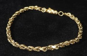 "14K Gold Twist Bracelet, 8.5"" Long, 3.71 g Total Weight"