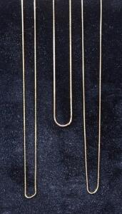 "14K Gold Necklaces, Qty 3, 15"", 21"", And 24"" Long, 3.23 g Total Weight"
