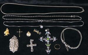 Gold And Sterling Silver Jewelry, Includes Bracelets, Necklace, Pendants And More, Total Qty 12