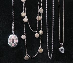 "Sterling Silver Necklaces, Qty 4, 2 With Pendants, Lengths Range 16"" - 36"" Long, 28 g Total Weight Including Pendants"