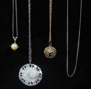 "14K Gold Necklaces, Qty 4, 3 Have Pendants, Lengths Range 15"" -18"" Long, 5.6 g Total Weight Including Pendants"