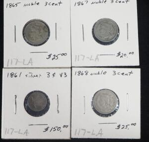 1861 Silver 3 Cent Coin, 1865, 1867 and 1868 Nickel 3 Cent Coins, Total Qty 4