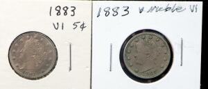 1883 V-Nickels, Qty 2
