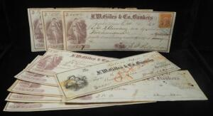 1868-1870 F.M. Giles & Co. Bankers Checks, Total Qty 10