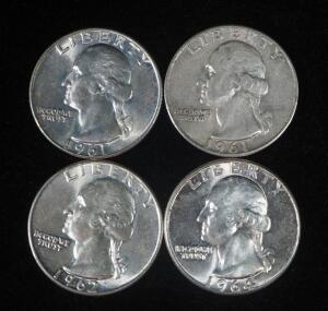 Washington Quarters, Qty 4, Dates Include 1961 (2), 1962 And 1964