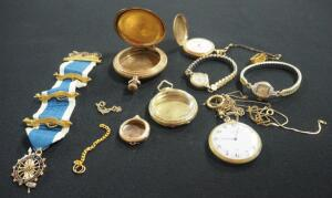 Collection Of Watches And Watch Shells, Both Wrist And Pocket, Some With Gold And Gold Fill, Qty 5 And DAR Regent Medallion Ribbon With 14K Pins