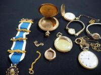 Collection Of Watches And Watch Shells, Both Wrist And Pocket, Some With Gold And Gold Fill, Qty 5 And DAR Regent Medallion Ribbon With 14K Pins - 3