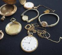 Collection Of Watches And Watch Shells, Both Wrist And Pocket, Some With Gold And Gold Fill, Qty 5 And DAR Regent Medallion Ribbon With 14K Pins - 4