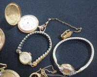 Collection Of Watches And Watch Shells, Both Wrist And Pocket, Some With Gold And Gold Fill, Qty 5 And DAR Regent Medallion Ribbon With 14K Pins - 5