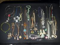 Collection Of Costume Necklaces, Includes Silver Tones, Gold Toned And Multicolored, Various Lengths And Styles