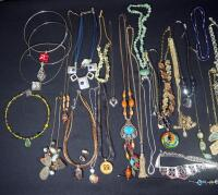 Collection Of Costume Necklaces, Includes Silver Tones, Gold Toned And Multicolored, Various Lengths And Styles - 3