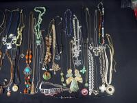 Collection Of Costume Necklaces, Includes Silver Tones, Gold Toned And Multicolored, Various Lengths And Styles - 5
