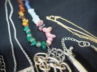 Collection Of Costume Necklaces, Includes Silver Tones, Gold Toned And Multicolored, Various Lengths And Styles - 10