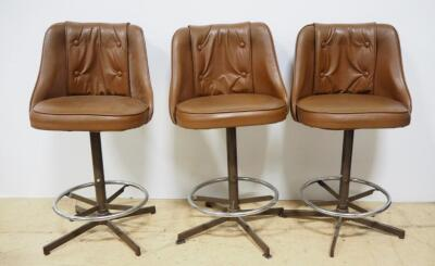 "Admiral Industries, Inc Upholstered Swivel Counter/Bar Stools, Qty 3, 36"" High"