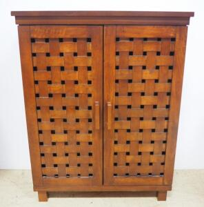 "Storage Cabinet With 2 Adjustable Shelves And Basket Weave Style Doors, 33"" High x 26""Wide x 11"" Deep"
