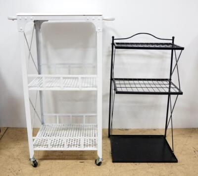 Storage Racks, Qty 2, 1 With 2 Shelves And Flat Top, On Wheels With Handles, Other With 2 Wire Shelves