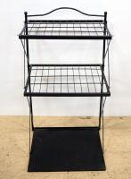 Storage Racks, Qty 2, 1 With 2 Shelves And Flat Top, On Wheels With Handles, Other With 2 Wire Shelves - 2