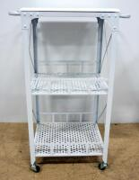 Storage Racks, Qty 2, 1 With 2 Shelves And Flat Top, On Wheels With Handles, Other With 2 Wire Shelves - 3