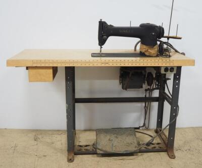 "Singer Sewing Machine Model 245-3 SN# AF947261 On Phill-O-Craft Sewing Table, Motor Powers On But Needle Doesn't Move, 29.5"" H x 48"" W x 19.5"" D"