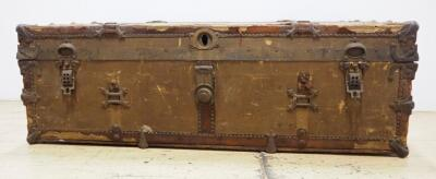 "Thos. F. Moores Trunks Vintage Trunk, Some Wear, No Key, 13"" High x 40"" Wide x 21"" Deep"