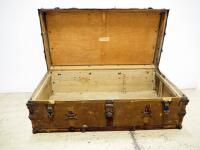 "Thos. F. Moores Trunks Vintage Trunk, Some Wear, No Key, 13"" High x 40"" Wide x 21"" Deep - 3"