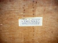 "Thos. F. Moores Trunks Vintage Trunk, Some Wear, No Key, 13"" High x 40"" Wide x 21"" Deep - 4"
