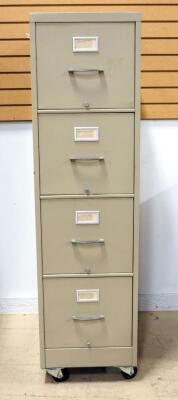 "Letter Size 4 Drawer Filing Cabinet, On Caster Wheels, 55"" High x 15.5"" Wide x 25"" Deep"