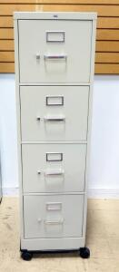 "Hon Letter Size 4 Drawer Filing Cabinet, On Wheels, 54.5"" High x 15.5"" Wide x 26.5"" Deep"