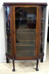 "Curved Glass Front Display Cabinet With 3 Removable Shelves And Latching Door, Forced Latching, 62.5"" High x 41.5"" Wide x 16"" Deep"