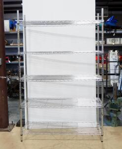 "Metal Wire Rack With 5 Adjustable Shelves, 74"" High x 47.5"" Wide x 18"" Deep"