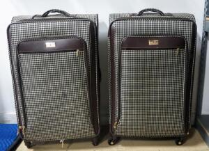London Fog Suitcases, Qty 2, Both With Brown Houndstooth Pattern, Wheels, Pull Handle And Many Compartments