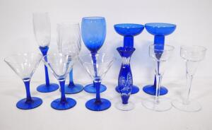 Blue And Clear Glass Stemware, Some With Etched Designs, Various Styles And Sizes, Total Qty 11