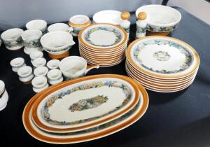Goebel Country Ceramic Dish Set, Burgund Pattern, Includes Dinner And Dessert Plates, Egg Cups, Serving Trays, Mugs, S&P, And More, 39 Total Pieces