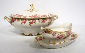 GDA France China, Limoges Pink Rose Pattern, Includes Gravy Dish And Tray, And Soup Tureen Without Ladle