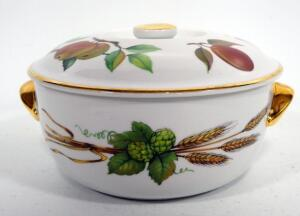 "Royal Worcester Porcelain Baking/ Serving Dish With Lid, Pattern ""Evesham"""