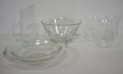 Collection Of Clear Etched Glass, Includes Ice Bowl, Serving Bowl, Pitcher, And More, 6 Total Pieces