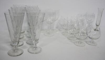 Collection Of Clear Etched Glass Stemware, Includes Brandy, Sherry, Wine, And More, 23 Total Pieces